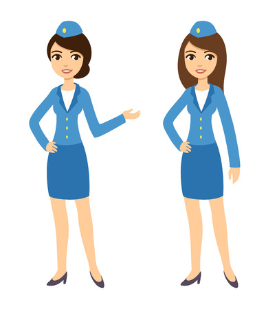 Two young attractive cartoon air hostesses in blue uniform isolated on white background.