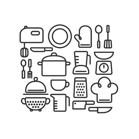 Set of outlined kitchen utencils and various cooking related objects arranged in a pattern.