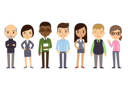 Illustration pour Set of diverse business people isolated on white background. Different nationalities and dress styles. Cute and simple flat cartoon style. - image libre de droit