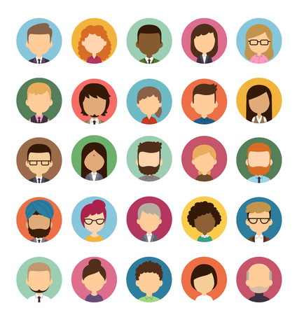 Ilustración de Set of diverse round avatars without facial features isolated on white background. Different nationalities, clothes and hair styles. Cute and simple flat cartoon style. - Imagen libre de derechos