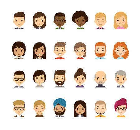 Set of diverse avatars. Different nationalities, clothes and hair styles. Cute and simple flat cartoon style.のイラスト素材