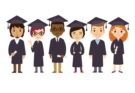 Illustration pour Set of diverse college or university graduation students with diplomas isolated on white background. Cute and simple flat cartoon style. - image libre de droit