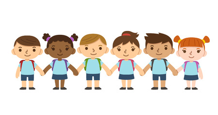 A set of six cute diverse children wearing school uniform with backpacks and holding hands. Different skintones, hairstyles and facial expressions.