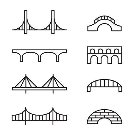 Set of simple bridge line icons.
