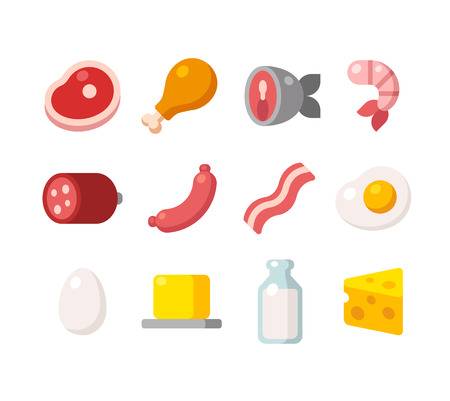 Vektor für Flat icons of meat and dairy products, animal sources of protein. - Lizenzfreies Bild