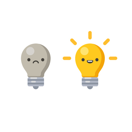 Lightbulb wth cute cartoon face, lit and off, symbolizing creative process. Vector illustration in simple flat style.