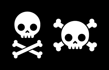 Simple cartoon skull and crossbones icons, two design variants.