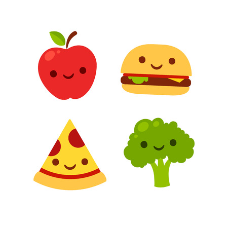 Cute cartoon icons with smiling faces: apple, broccoli, burger and pizza. Fast food and healthy food vector illustration.のイラスト素材