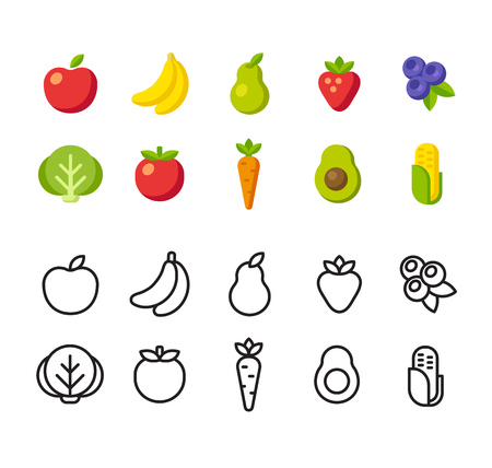 Photo for Fruit and vegetable icon set. Two options, colorful flat vector style and line icons. - Royalty Free Image