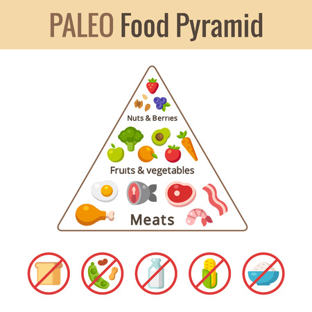Paleo food pyramid chart. Nutrition and diet infographics. Vector illustration.