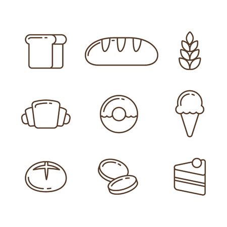 Illustration pour Bakery line icon set: breads and desserts. Vector illustration in thin outline style. - image libre de droit