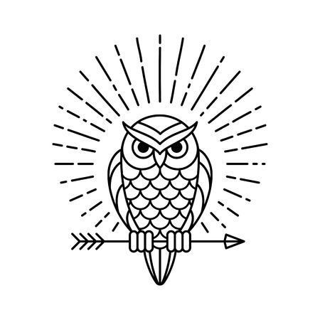 Owl outline emblem in geometric hipster style with arrow and