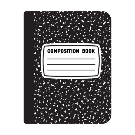 Composition book template. Traditional school notebook illustration.