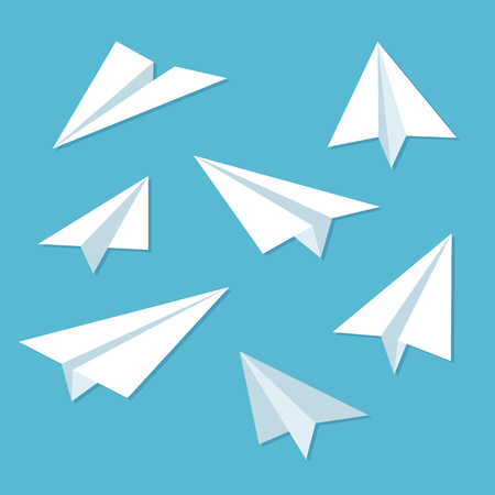 Ilustración de Paper planes icon set in simple flat style.  - Imagen libre de derechos