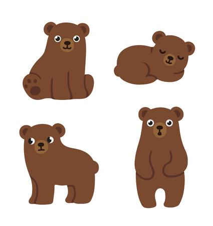 Ilustración de Set of cute cartoon bear cubs with funny faces and different poses. Simple, modern style vector illustration. - Imagen libre de derechos