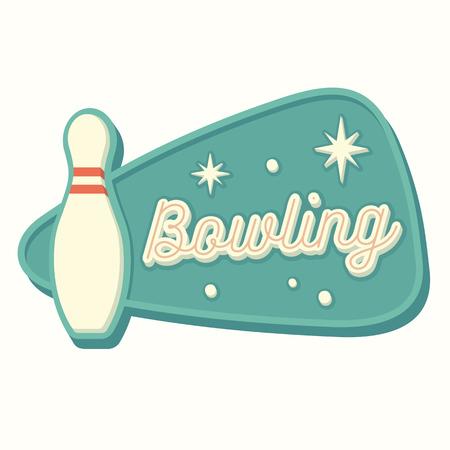 Foto de Vintage bowling sign in traditional American style. Isolated vector illustration. - Imagen libre de derechos