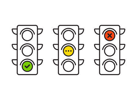Illustration pour Traffic light interface icons. Red, yellow and green (yes, no and standby). Thin line vector buttons. - image libre de droit