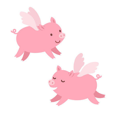 Two cute cartoon flying pigs. Isolated illustration.