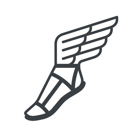 Illustration for Ancient Greek sandal with wings. line icon. - Royalty Free Image