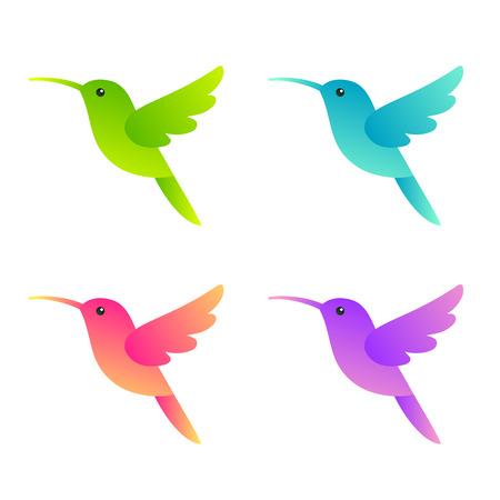 Ilustración de Stylized hummingbirds set in four different colors for icon. Isolated vector colibri illustration. - Imagen libre de derechos