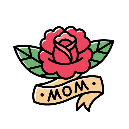 Illustration pour Traditional American style rose tattoo with ribbon and word Mom. Old school retro tattoo illustration. - image libre de droit