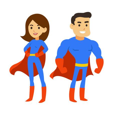 Illustration pour Cartoon superhero couple, man and woman in comic book costumes with capes. Cute super hero vector illustration. - image libre de droit