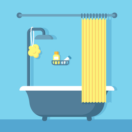 Illustration for Bathroom shower interior in flat cartoon vector style. - Royalty Free Image
