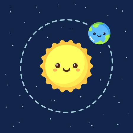 Illustration for Cute cartoon Earth orbiting around Sun. Modern flat space illustration. - Royalty Free Image