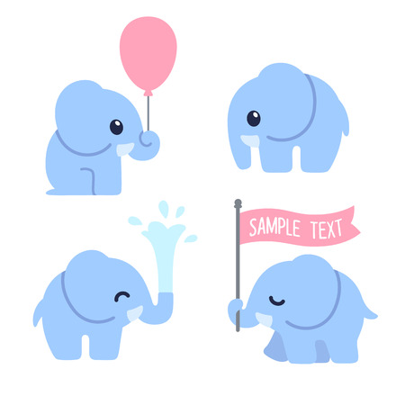 Ilustración de Cute cartoon baby elephant set. Adorable elephant illustrations for greeting cards and baby shower invitation design. - Imagen libre de derechos