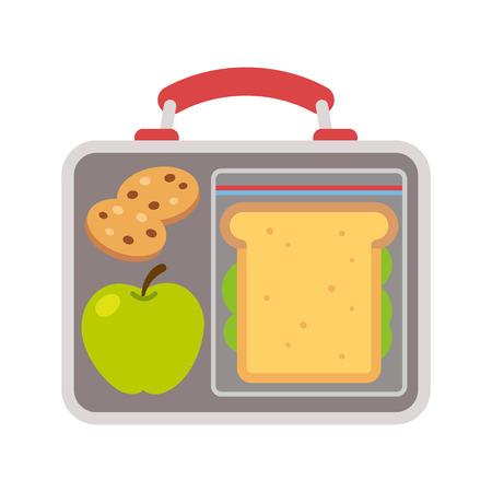 Vektor für Lunchbox with school lunch: apple, sandwich and cookies. Flat vector illustration. - Lizenzfreies Bild