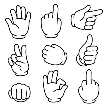 Illustration pour Cartoon hands gesture set. Traditional cartoon white glove. Vector clip art illustration. - image libre de droit