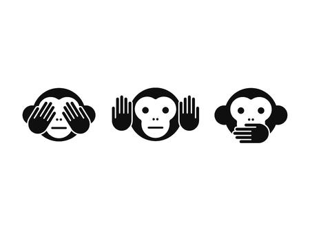 Illustration pour See no Evil, Hear no Evil, Speak no Evil monkey icon set. Simple modern vector illustration. - image libre de droit