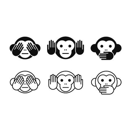 Illustration pour See no Evil, Hear no Evil, Speak no Evil monkey icon set in two styles, solid and line. Simple modern vector illustration. - image libre de droit