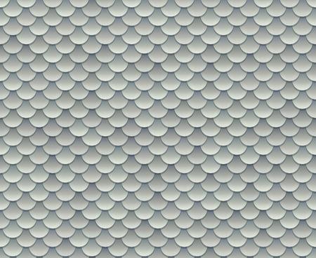 Vektor für Silver fish scale texture or metal armor seamless pattern. Vector illustration. - Lizenzfreies Bild
