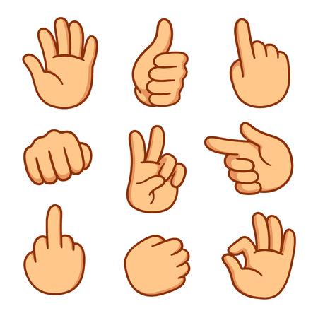 Illustration pour Cartoon hands set. Different gestures vector illustration. - image libre de droit