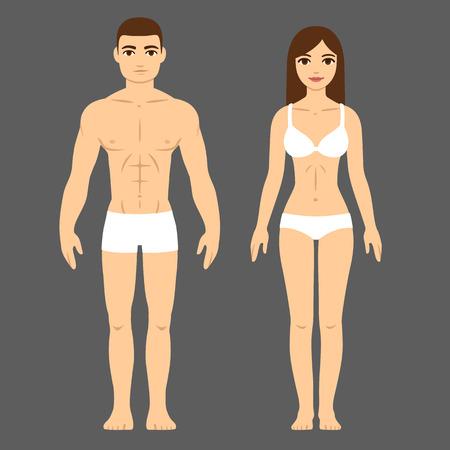Ilustración de Man and woman with athletic body in underwear. Health and fitness vector illustration. - Imagen libre de derechos