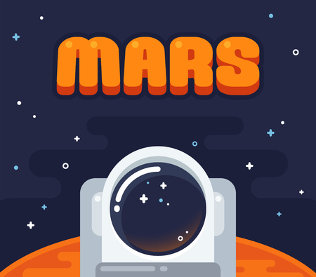 Illustration pour Astronaut on Mars. Flat cartoon space illustration. Helmet of an astronaut with Mars surface surrounded by starry sky. - image libre de droit