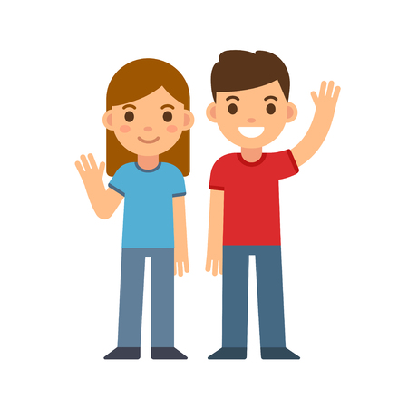 Illustration pour Cute cartoon children smiling and waving, boy and girl. Brother and sister or two friends. Happy kids vector illustration. - image libre de droit
