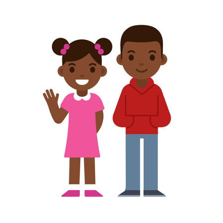 Vektor für Cute cartoon black children smiling and waving, boy and girl. Brother and sister or two friends. African American kids vector illustration. - Lizenzfreies Bild