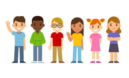 Illustration pour Set of diverse cartoon children. Flat design vector kids, boys and girls. - image libre de droit