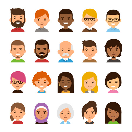 Illustration for Diverse avatar set isolated on white background. Different skin and hair color, happy expressions. Cute and simple flat cartoon style. - Royalty Free Image