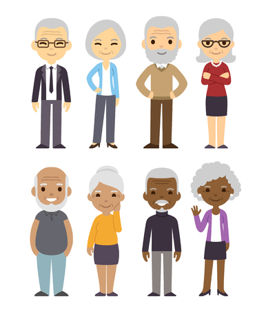 Illustration for Diverse cartoon senior couples set. Happy old people, men and women, asian, black and white. Isolated flat vector illustration. - Royalty Free Image