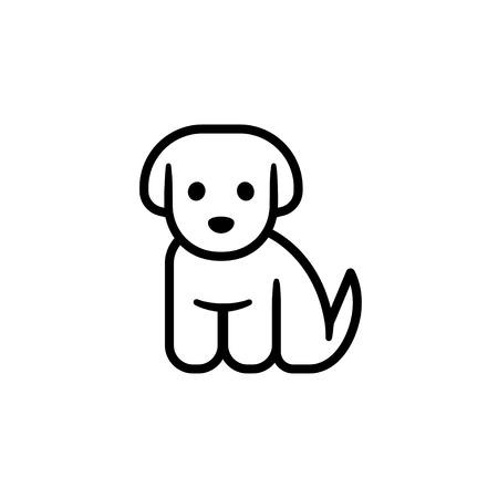 Ilustración de Little puppy icon. Simple cute cartoon dog vector illustration. Vet or pet shop - Imagen libre de derechos