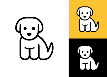 Puppy icon isolated on white, black and yellow background. Cute little cartoon dog vector illustration. Vet or pet shop logo.のイラスト素材
