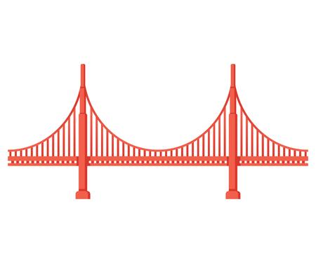 Ilustración de Golden Gate Bridge side view. San Francisco symbol isolated vector illustration. - Imagen libre de derechos