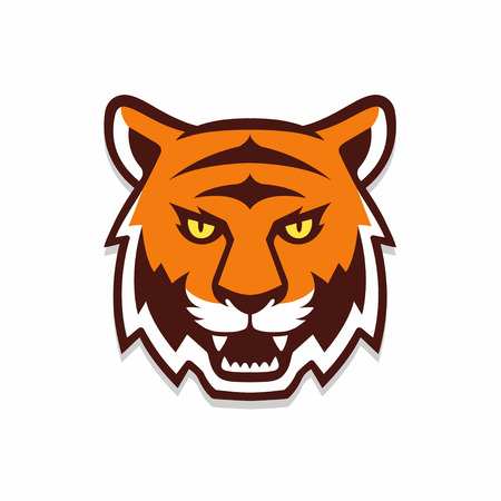 Illustration for Tiger head illustration, sport mascot or team icon. Traditional comic cartoon style. - Royalty Free Image