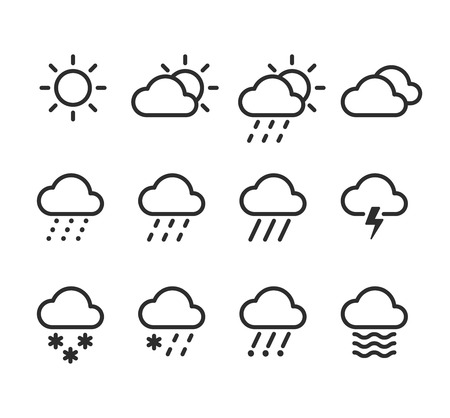 Weather icons set. 12 isolated line icons with clouds, skies and precipitations.