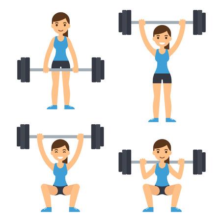 Ilustración de Cartoon woman barbell training. Weight lifting exercises: squat, deadlift, overhead press. Flat vector style fitness illustration. - Imagen libre de derechos