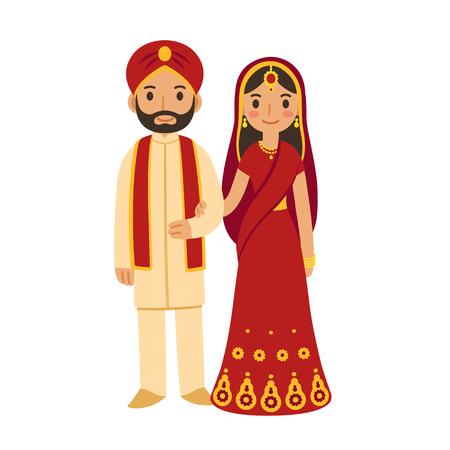 Ilustración de Indian wedding couple in traditional clothing. Cute cartoon vector illustration. - Imagen libre de derechos