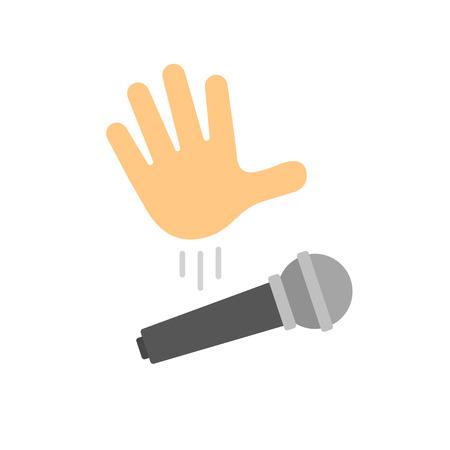Illustration pour Mic drop illustration. Cartoon hand dropping microphone, simple modern icon. - image libre de droit